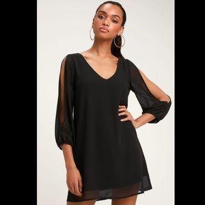 LuLus Shifting Dears Black Long Sleeve Dress